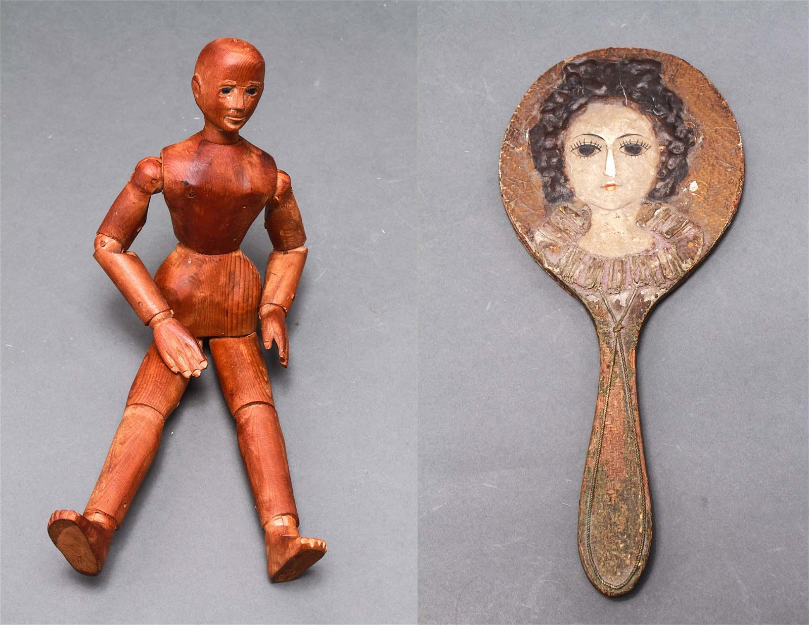 Artist's Articulated Carved Wood Figure & Mirror