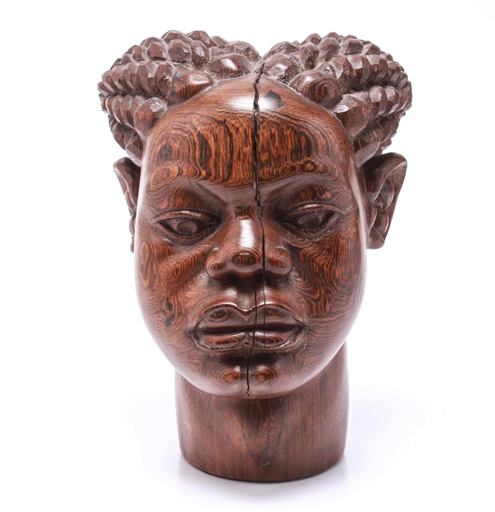 African Carved Wood Portrait of Figure Sculpture