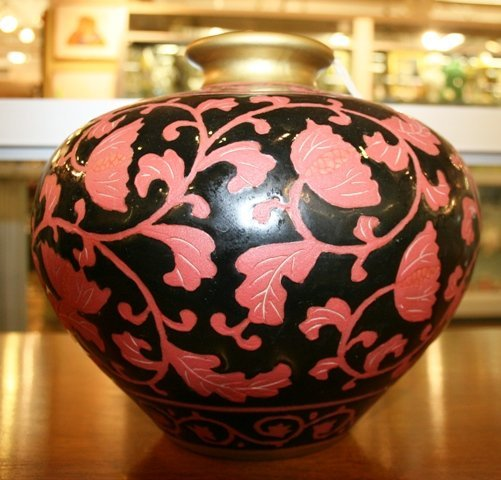 10: Asian Vase Black Lacquer & Cherry Colored Flower