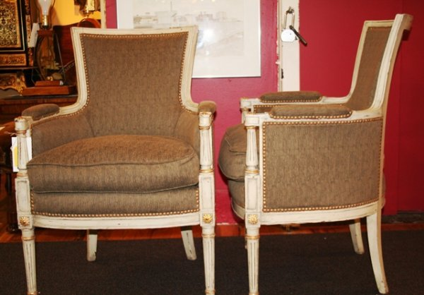 11: Pair of Louis XVI Bergeres Style Chairs