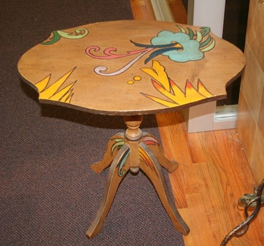 15: Hand Painted Side Table, Late 20th Century
