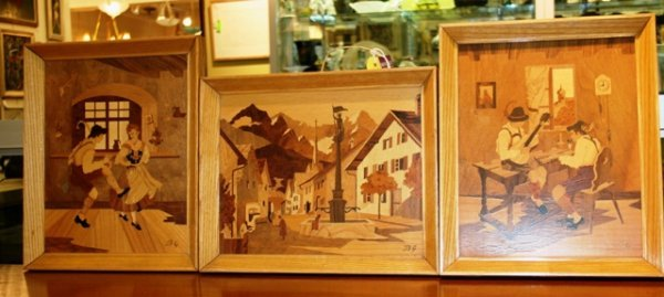 18: 3 German Buchschmid and Gretaux Marquetry Hangings