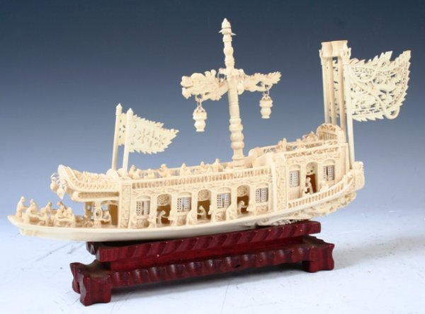1010: Chinese Carved Bone Boat