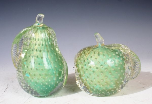 1015: Pair of mid Century Murano Pear & Apple Bookends