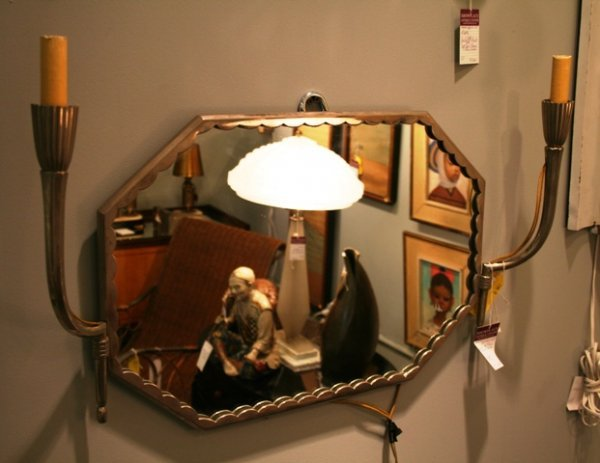 1022: French Art Deco Mirror and Sconces