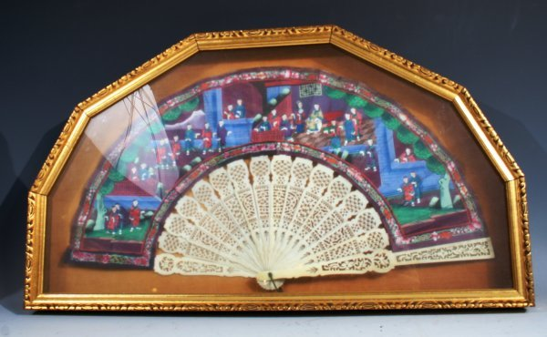 1063: Chinese Mounted Hand Painted Rice Paper Fan