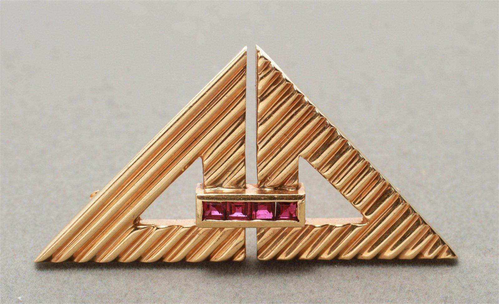 Art Deco Tiffany & Co 14K Gold & Rubies Brooch