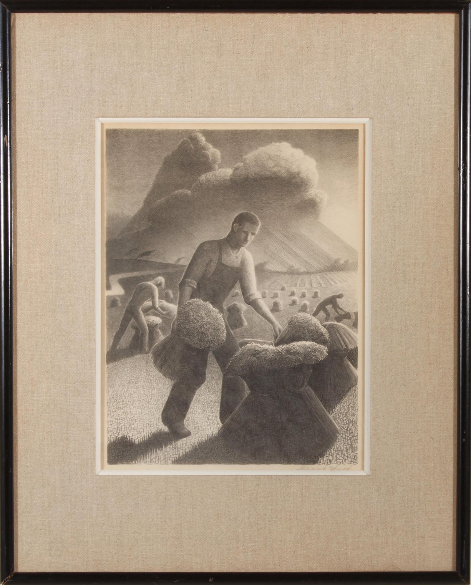 """Grant Wood """"Approaching Storm"""" AAA Lithograph"""