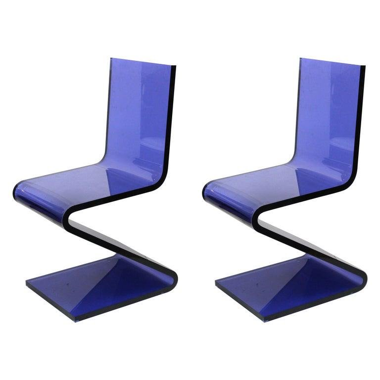 """Modern Blue Lucite Cantilever """"Z"""" Chairs, Pair"""