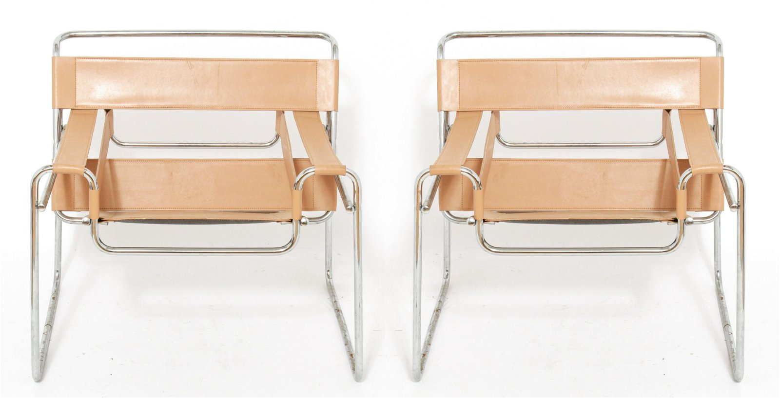 Marcel Breuer Tan Wassily B3 Armchairs, Pair