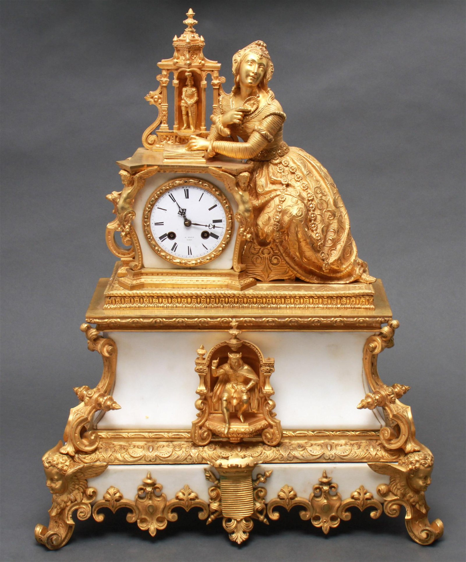 J. Hall Paris French Gilt Bronze Figurative Clock