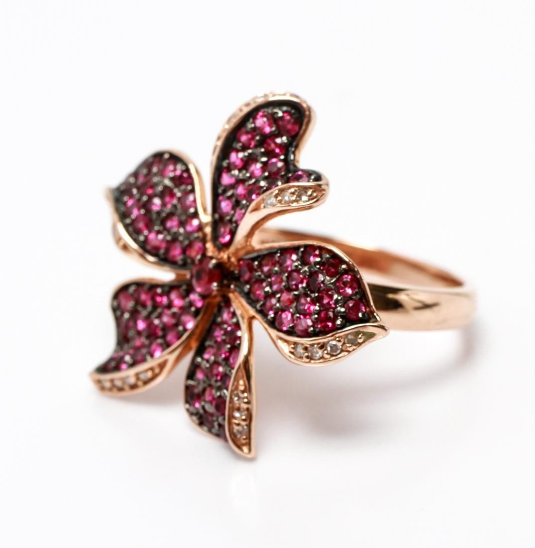 14K Rose Gold Rubies & Diamonds Flower Motif Ring