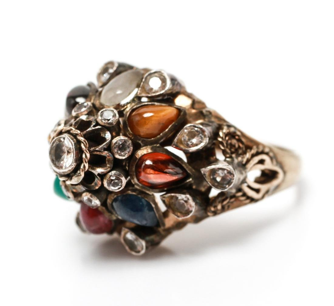14K Gold w Multi-Colored Gem Stones Ring