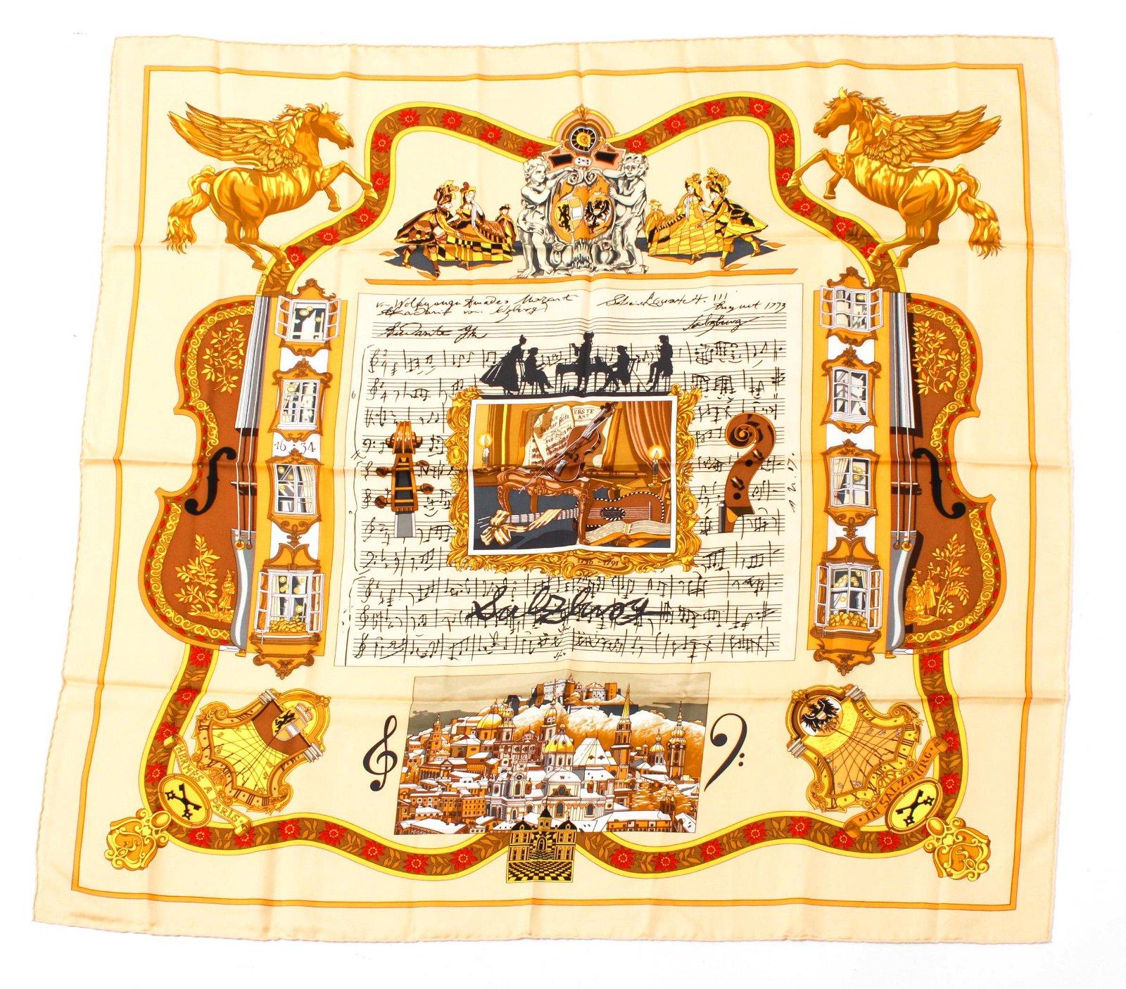 "Hermes ""Salzburg"" Mozart Silk Scarf"