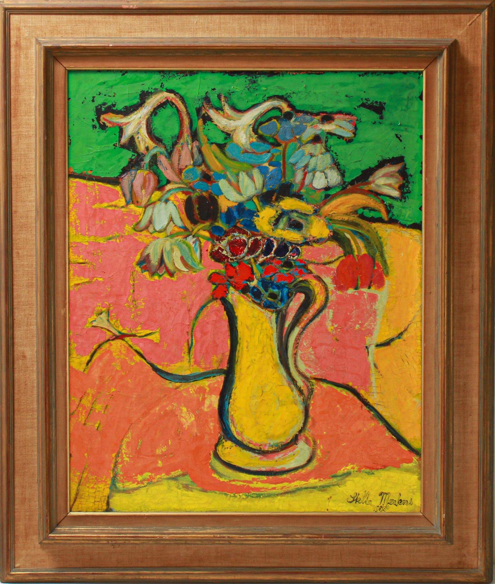 Stella Mertens Still Life w Flowers Oil on Canvas