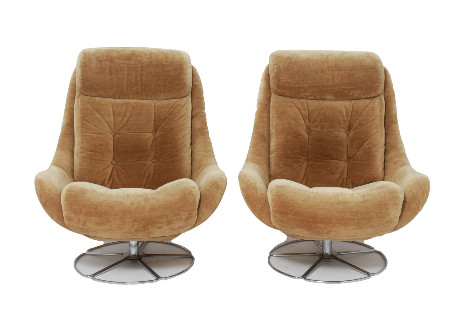 Mid-Century Modern Swivel Lounge Chairs, Pair