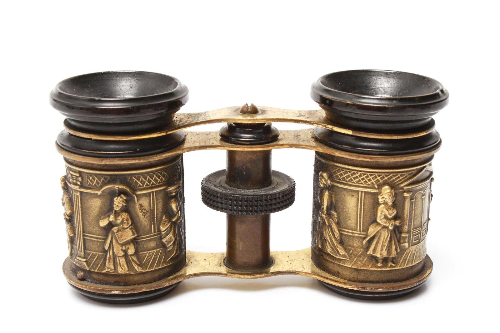 Brass Opera Glasses w Relief Figural Scenes