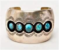 R Secatero Navajo Silver  Turquoise Cuff Bracelet
