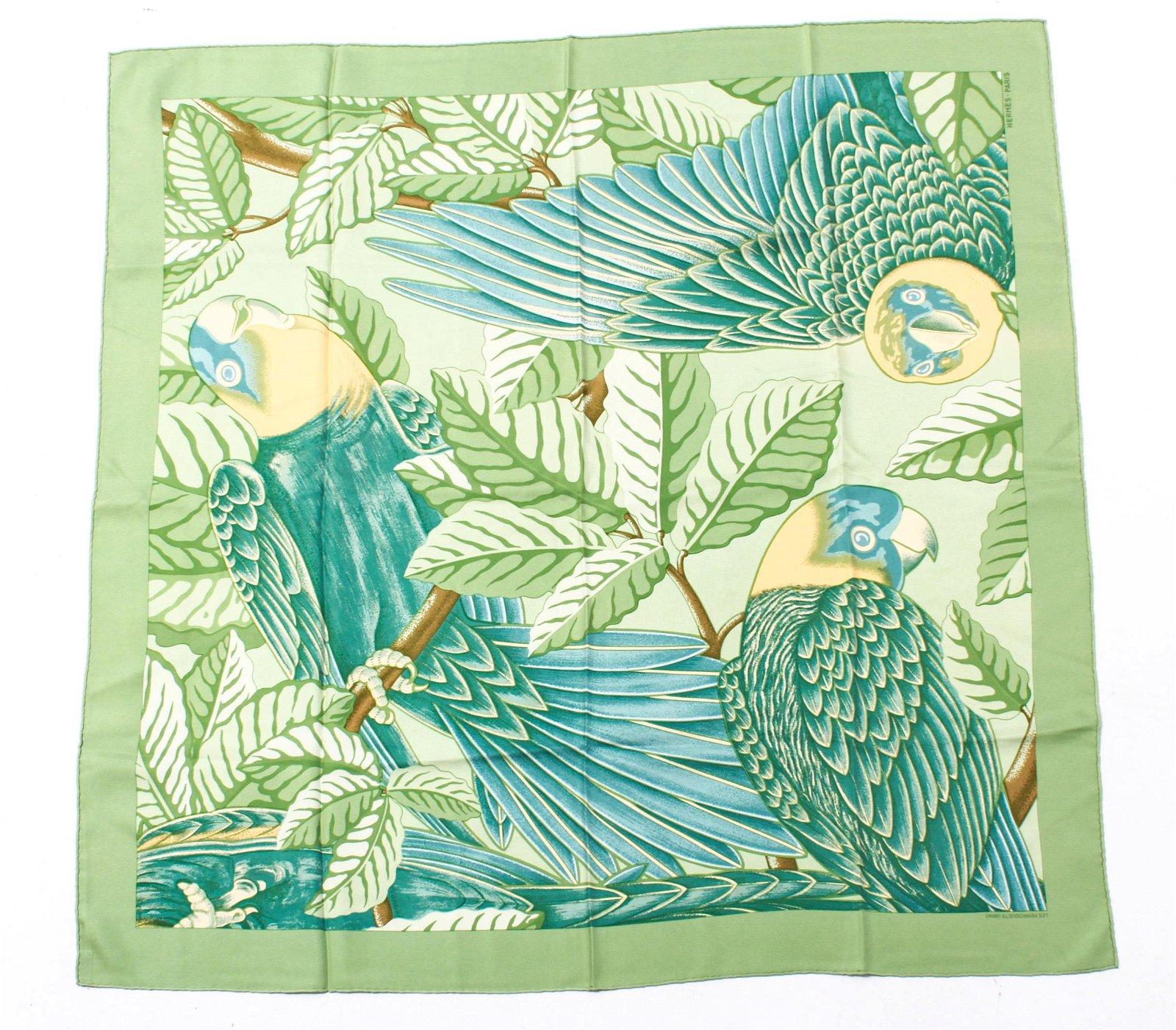 "Hermes ""Les Perroquets Detail"" Silk Scarf"