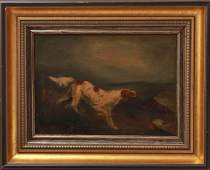 CF Monogrammed Running Dog Oil on Canvas