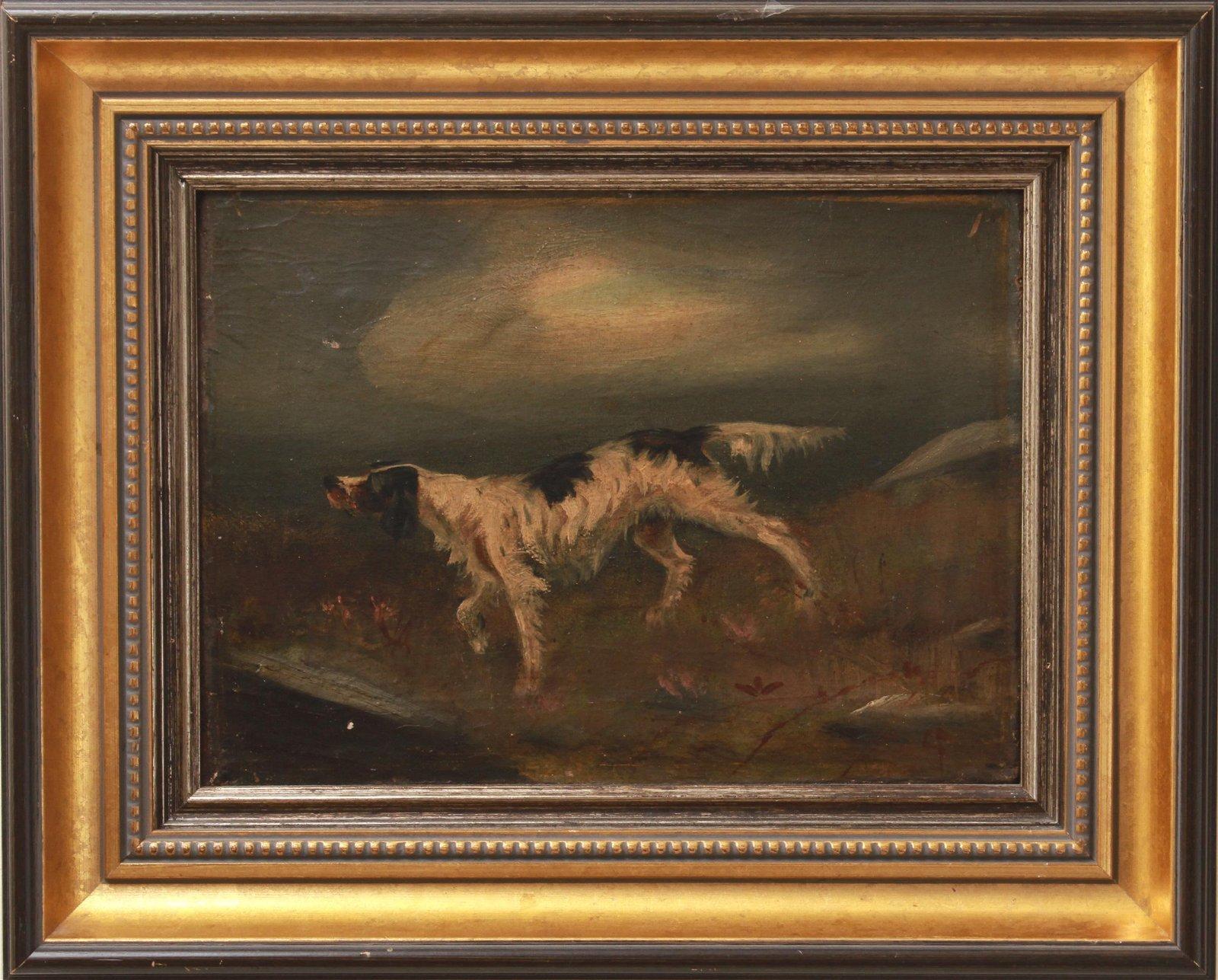 CF Monogrammed Running Dog Oil on Canvas