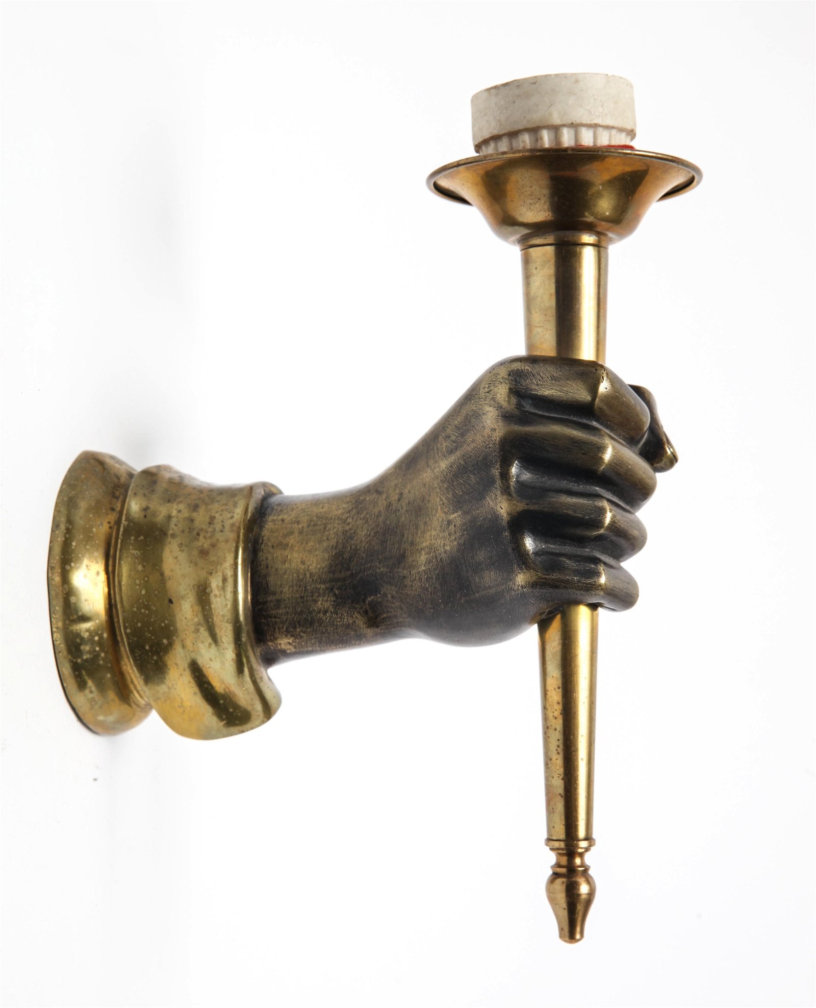 Bronze Hand w Torch Wall Sconce