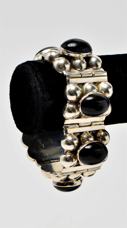 Taxco Sterling Silver & Black Onyx Hinged Bracelet