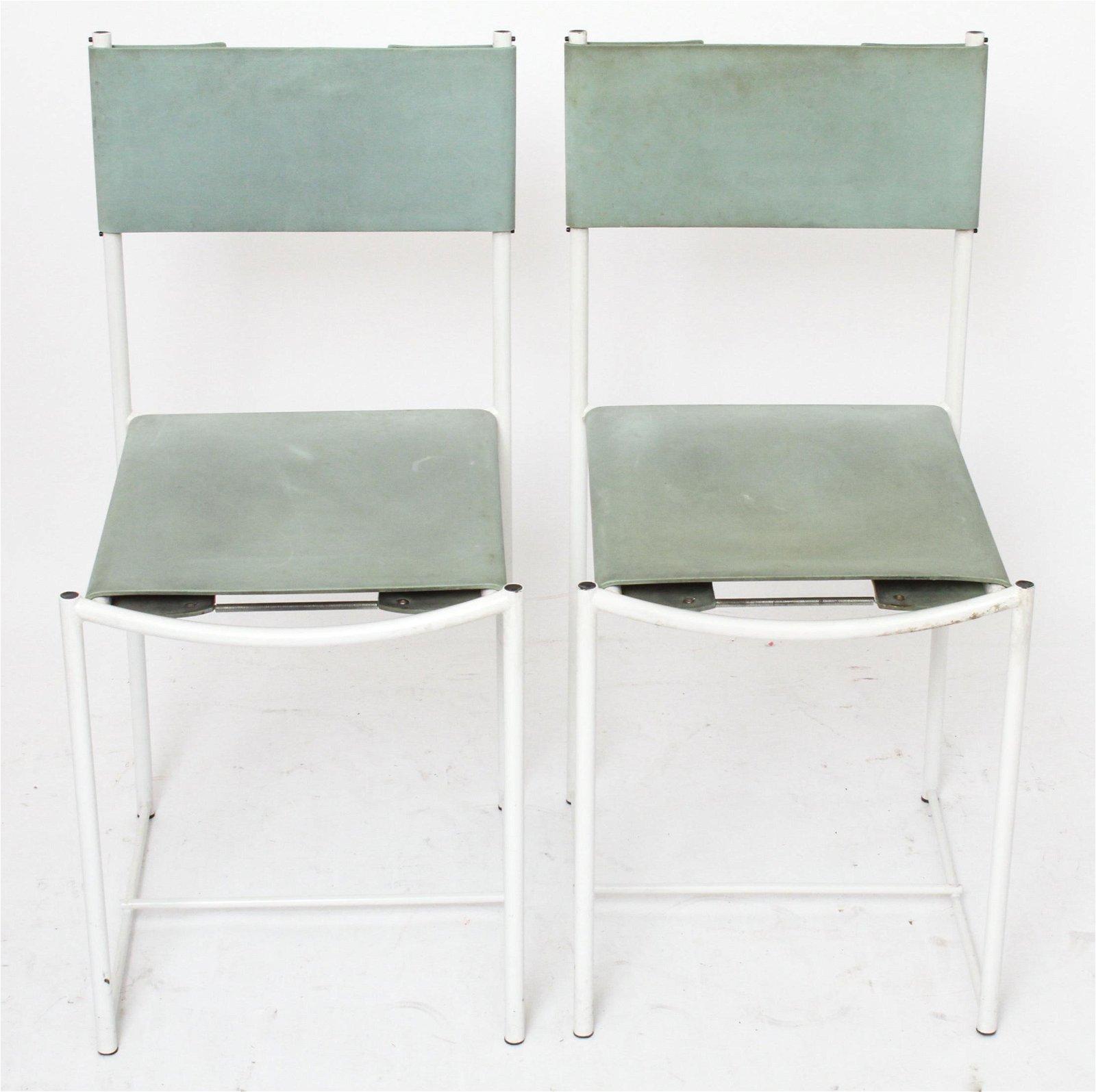 Modern Metal & Foam-Rubber Side Chairs, Pair
