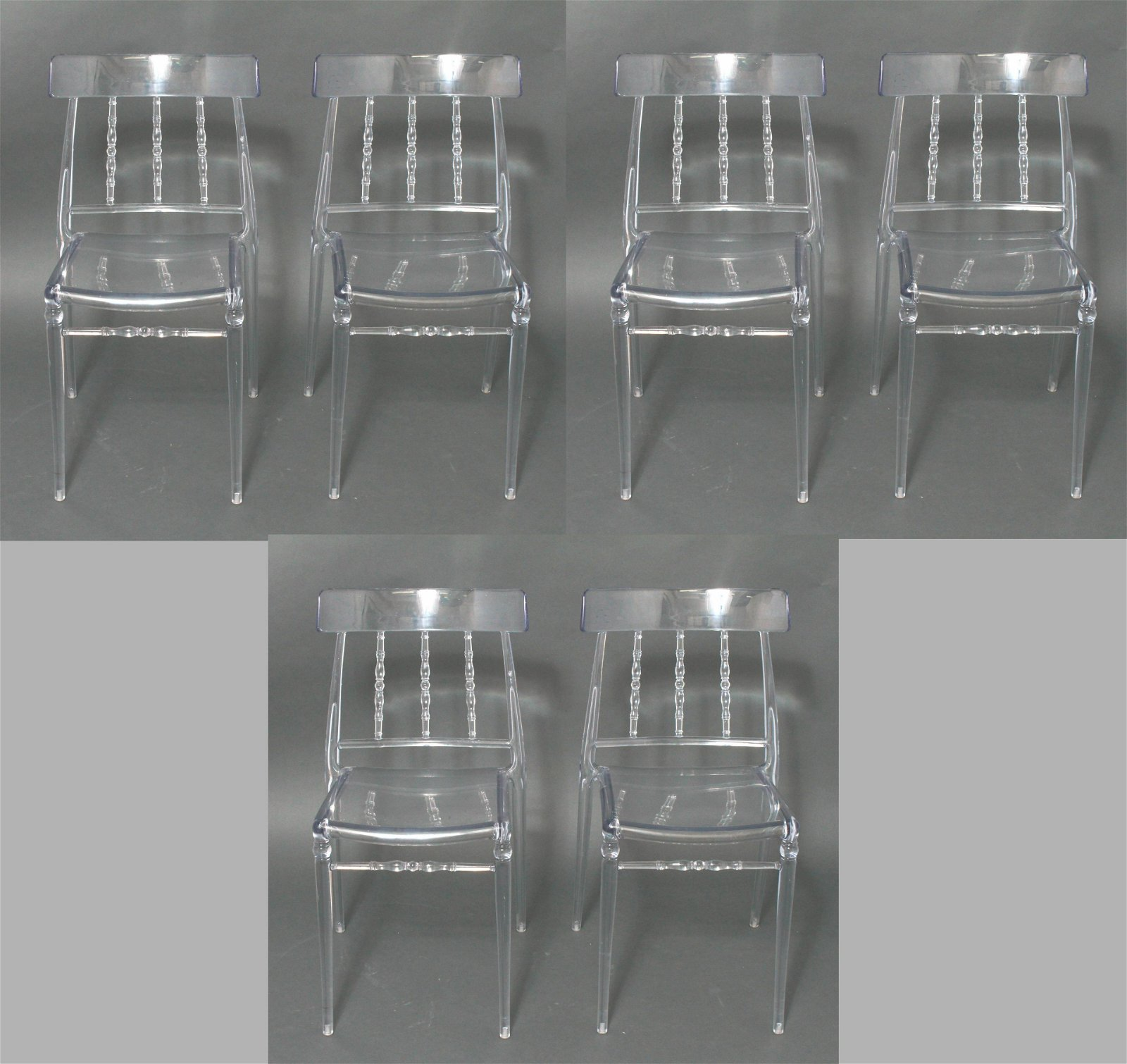 Modern Spindle Colorless Lucite Dining Chairs, 6