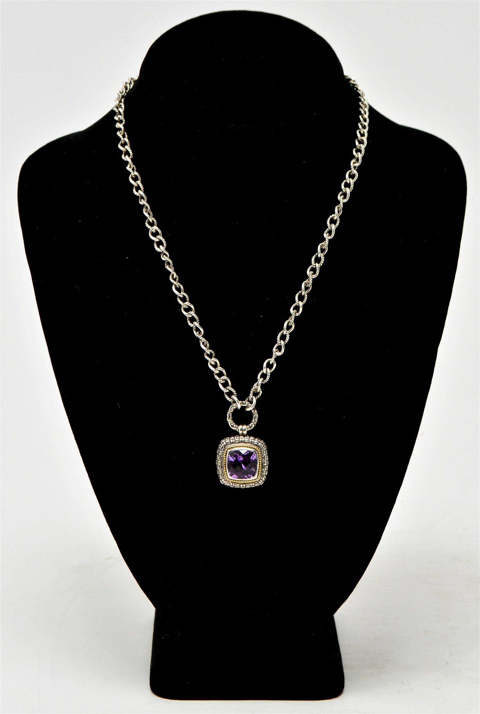 Effy Silver w 18K Gold & Amethyst Pendant Necklace