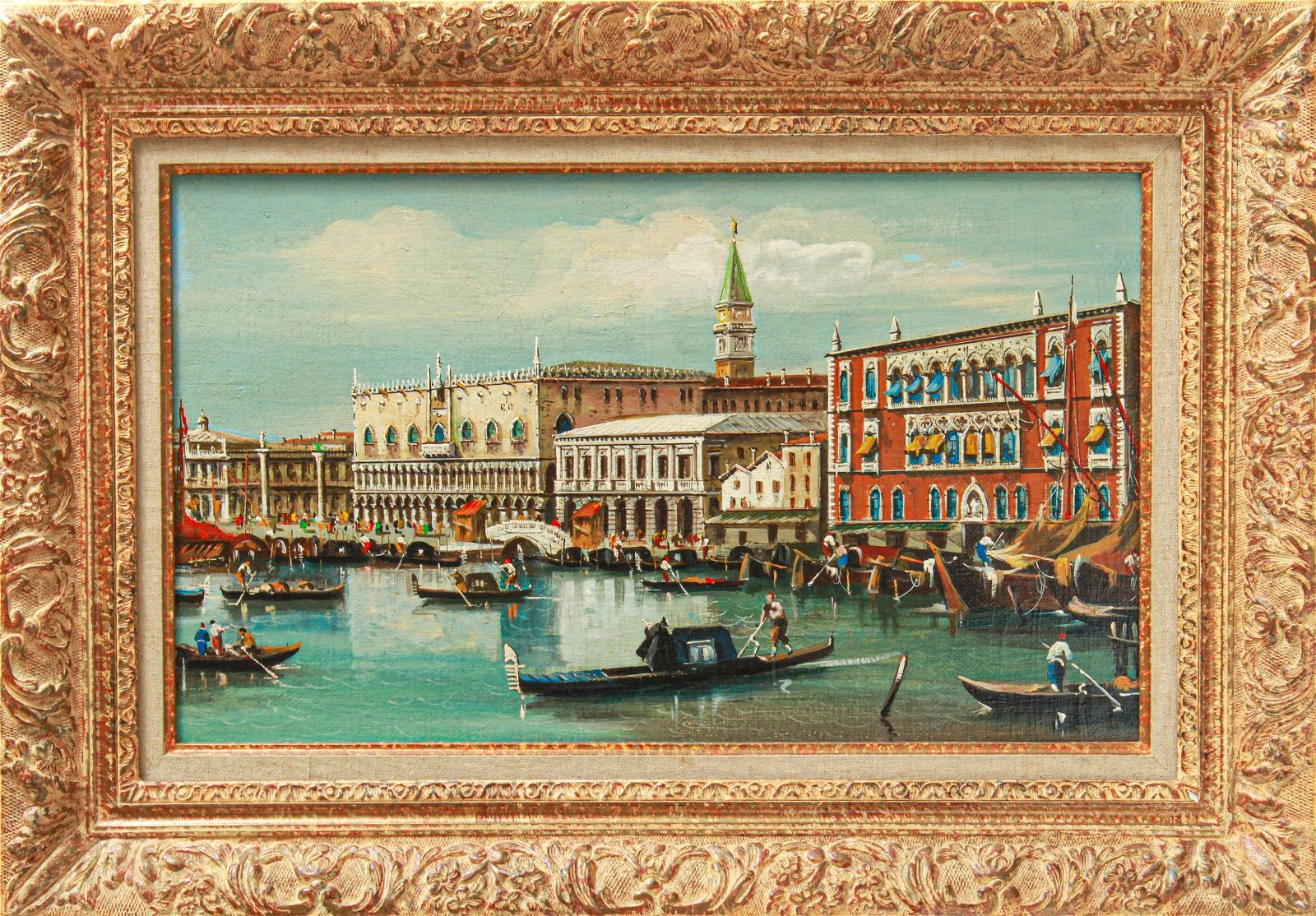 Venetian Scene with Gondolas Oil on Canvas