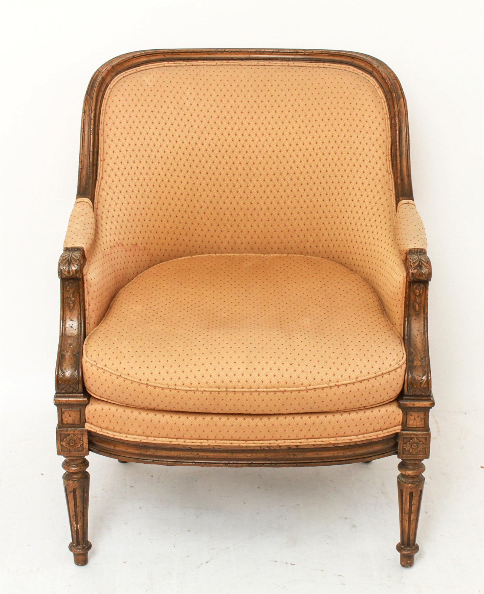 French Louis XV Style Upholstered Bergere Armchair