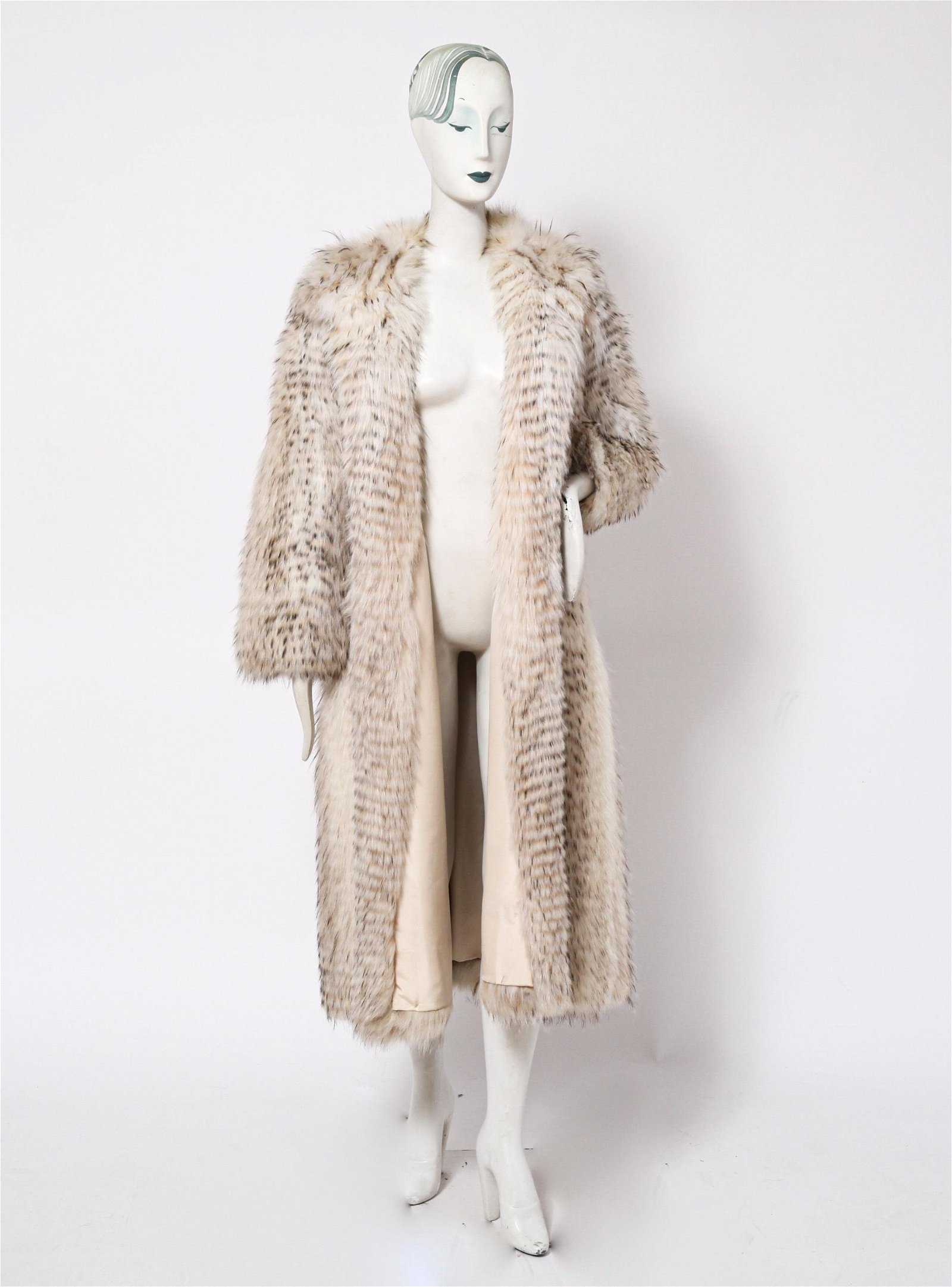 Ladies' Long White & Black Fur Coat w Hood