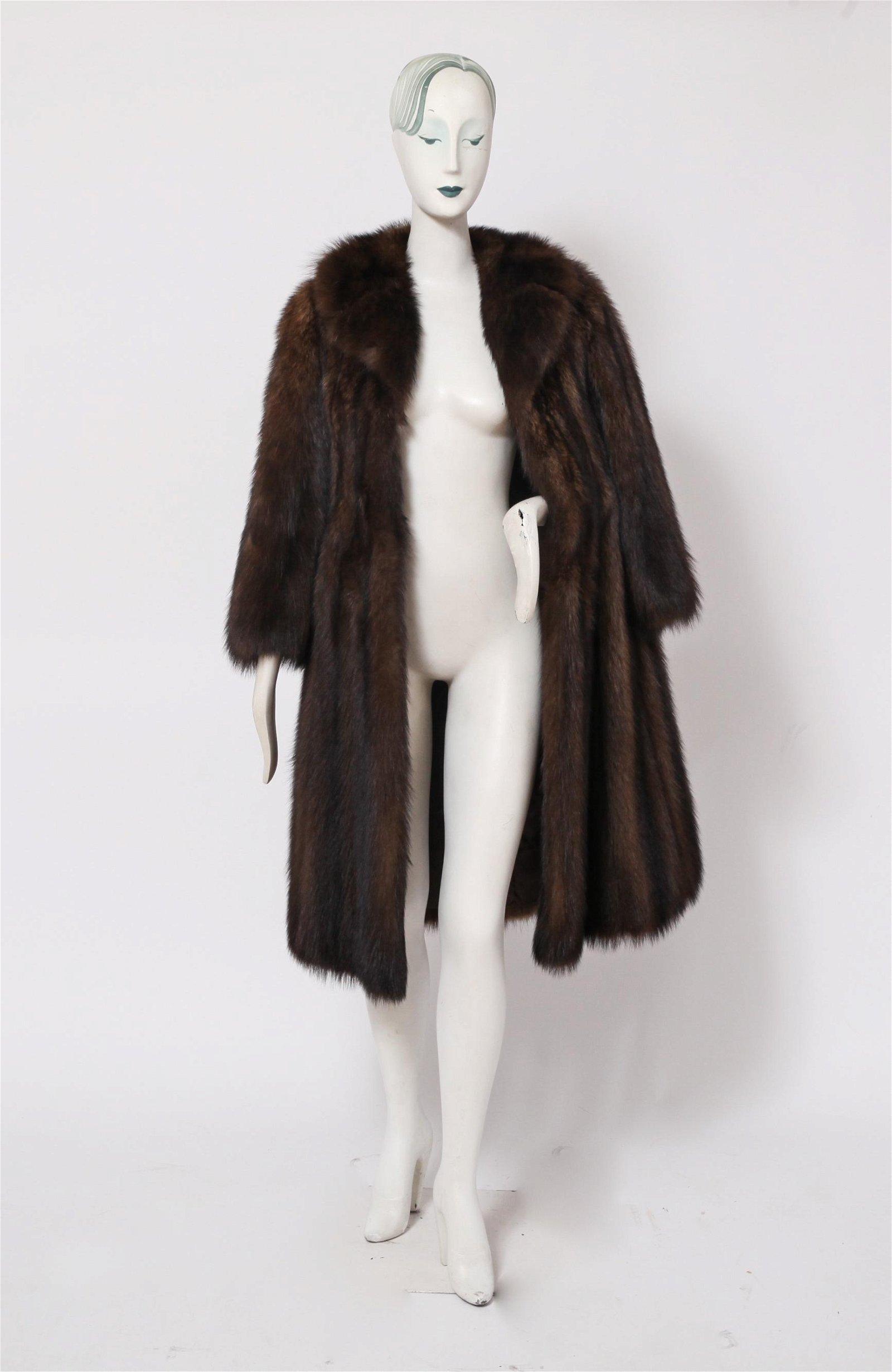 Ladies' Long Brown Fur Coat
