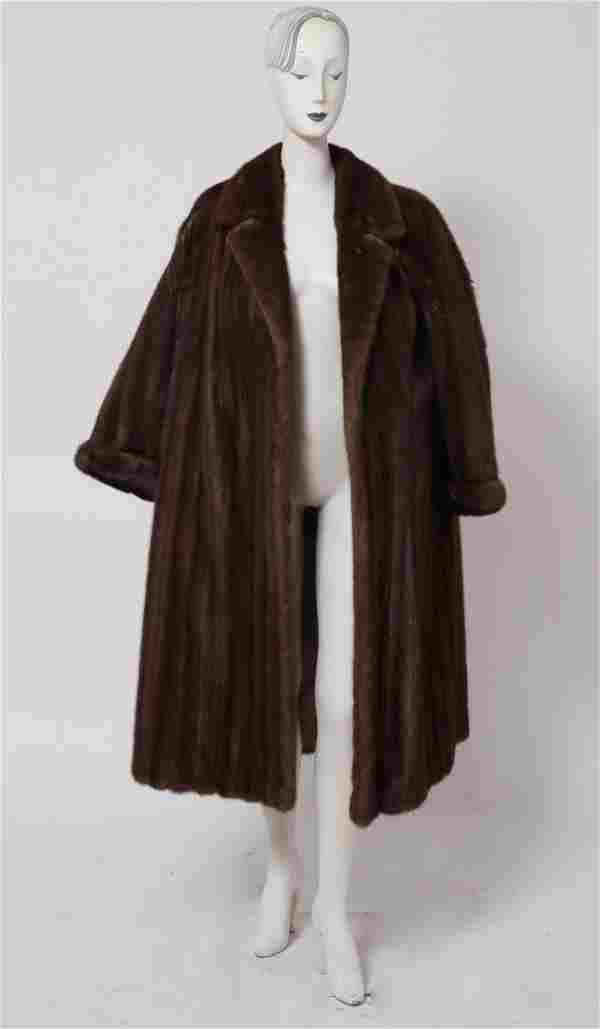 Ladies' Long Brown Mink Fur Coat