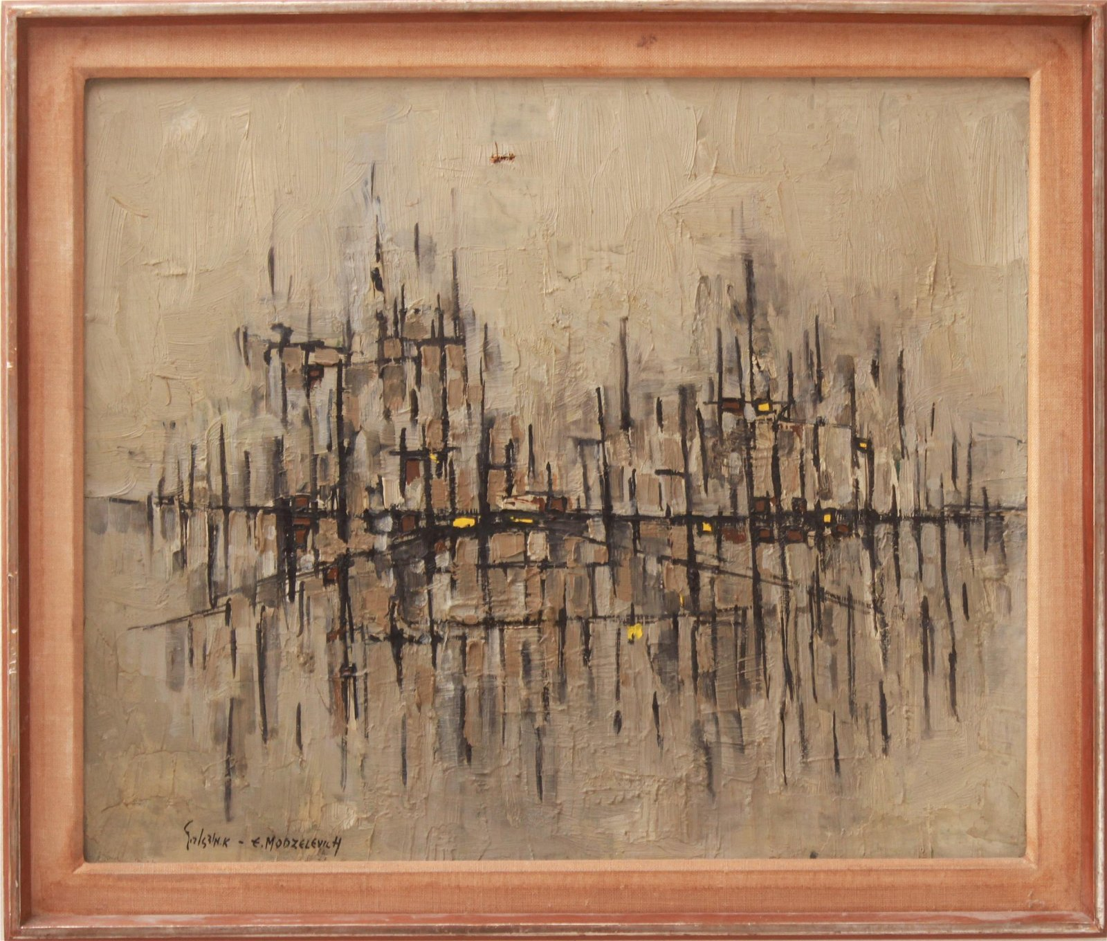 Efraim Modzelevich Abstract Oil on Canvas