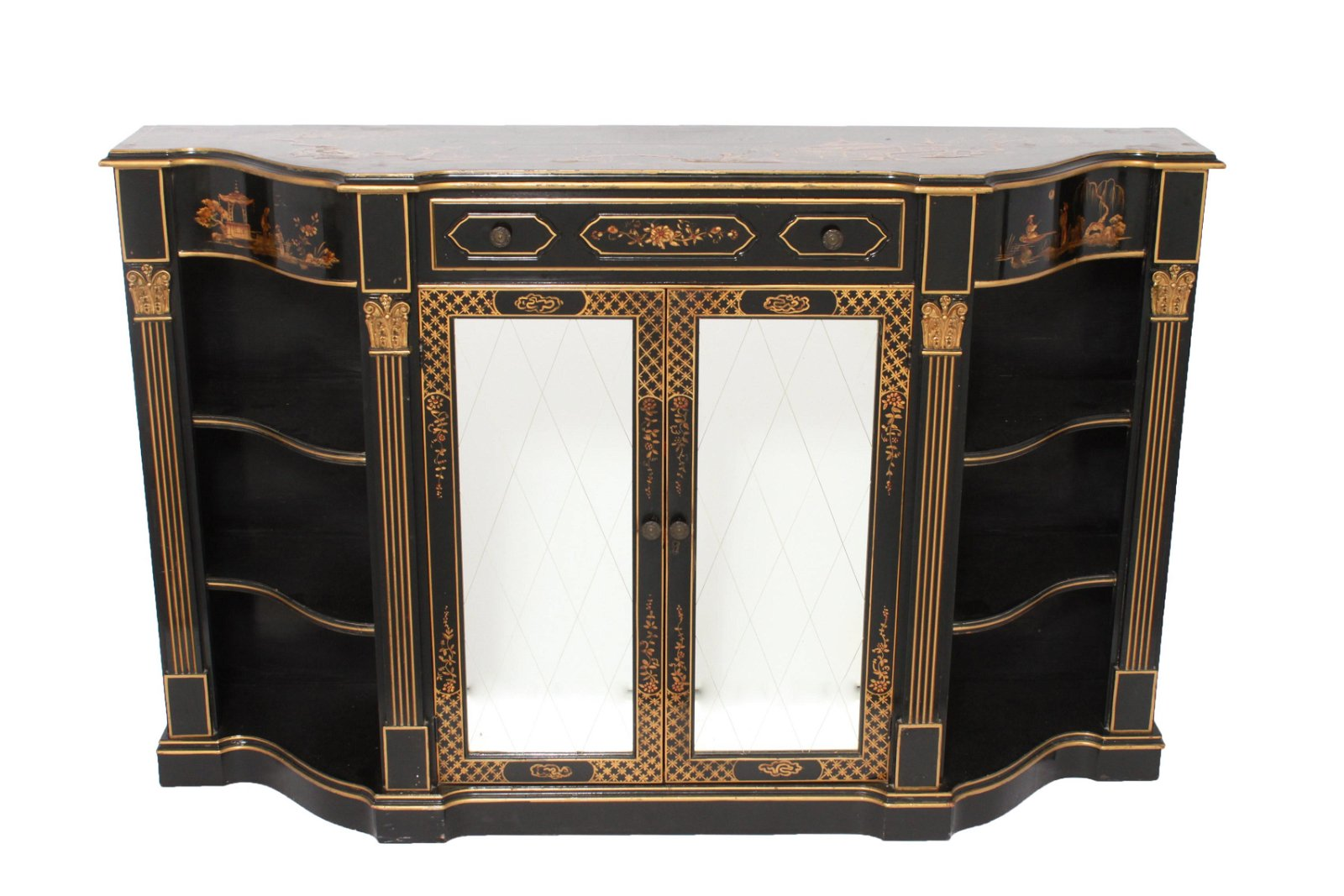 Chinoiserie Sideboard w Mirrored Cabinet Doors