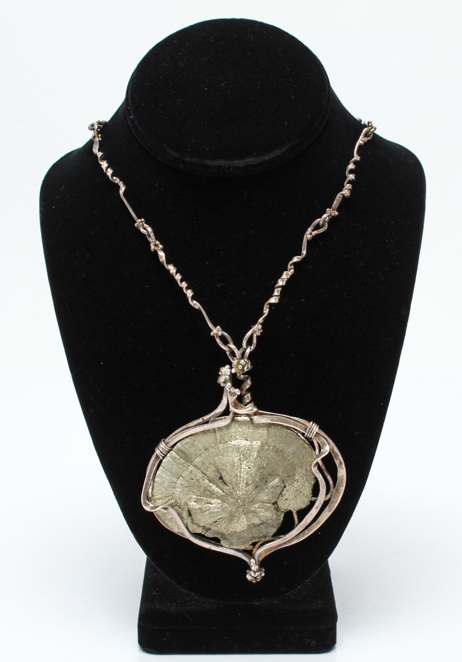 """Vicki Thaler """"Fossil"""" Silver & Pyrite Necklace"""