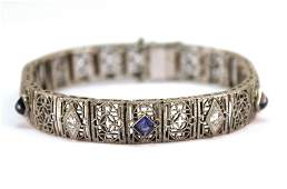 Art Deco 14K Gold Diamonds  Sapphires Bracelet