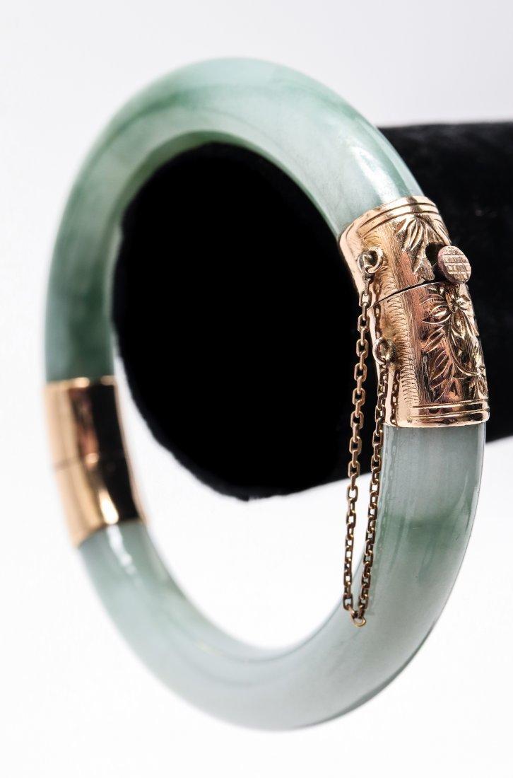 Chinese 14K Yellow Gold & Jade Bangle Bracelet