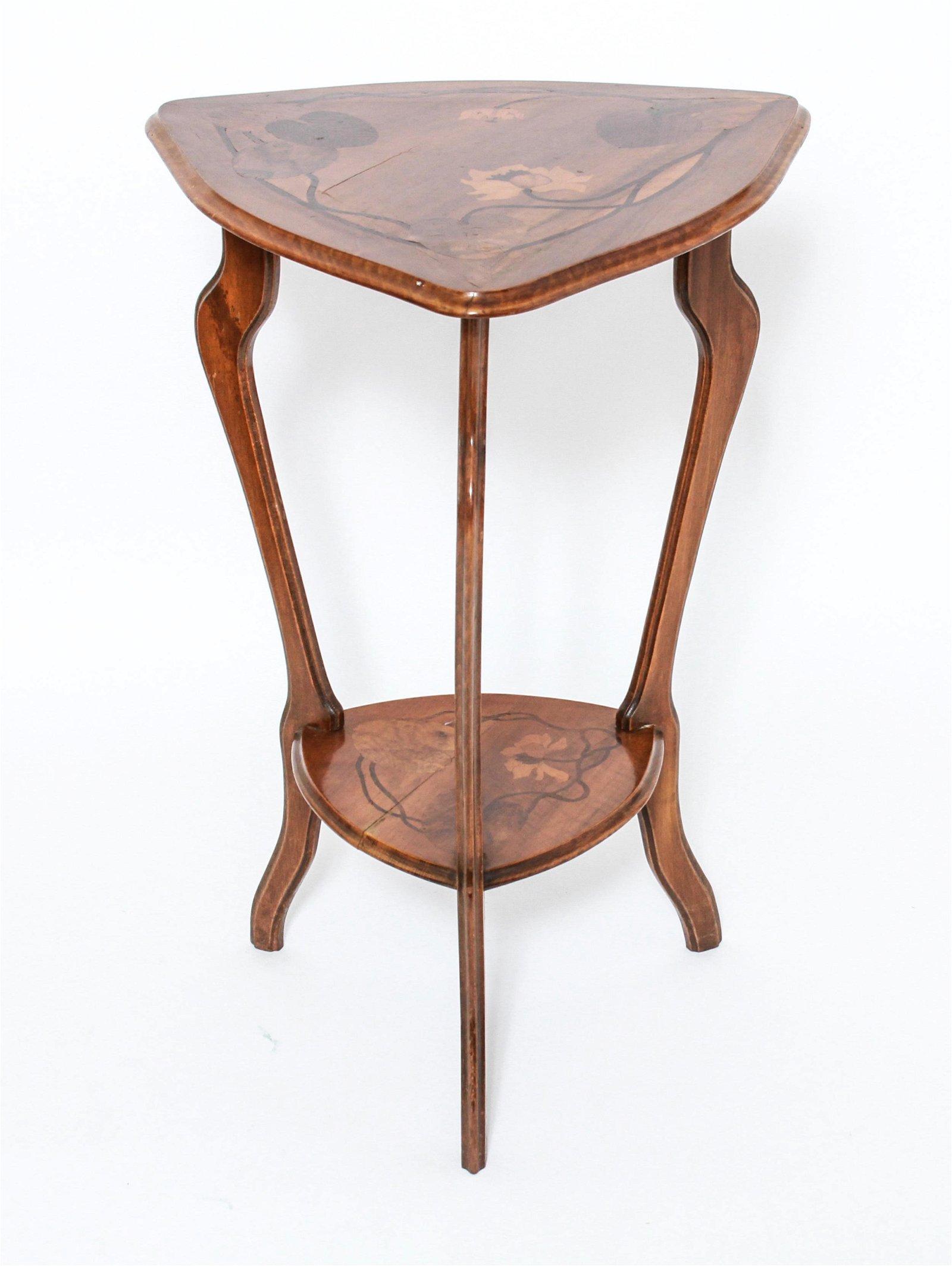 Paul Guth Art Nouveau Marquetry Tripod Table