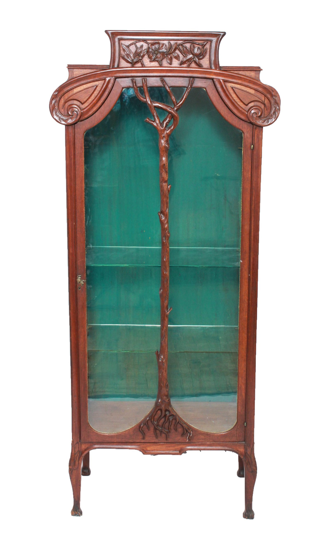 Majorelle Art Nouveau Carved Wood Vitrine Cabinet