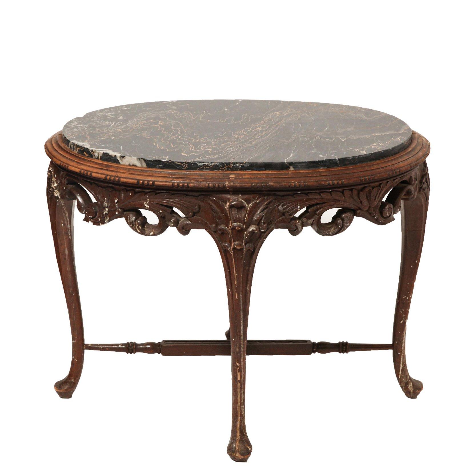 Art Nouveau Oval Marble Top Table