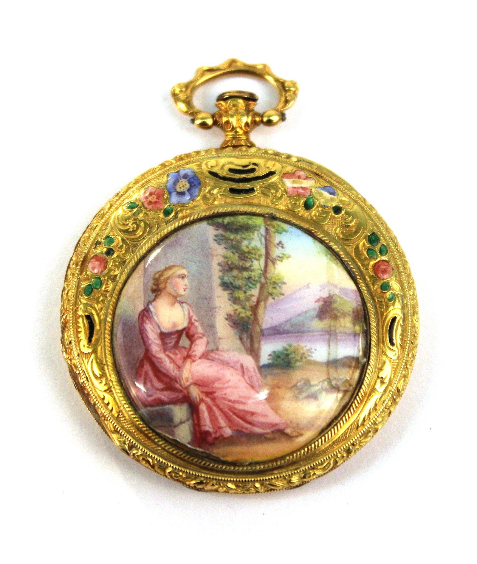 18K Yellow Gold & Enamel Watch Case / Locket