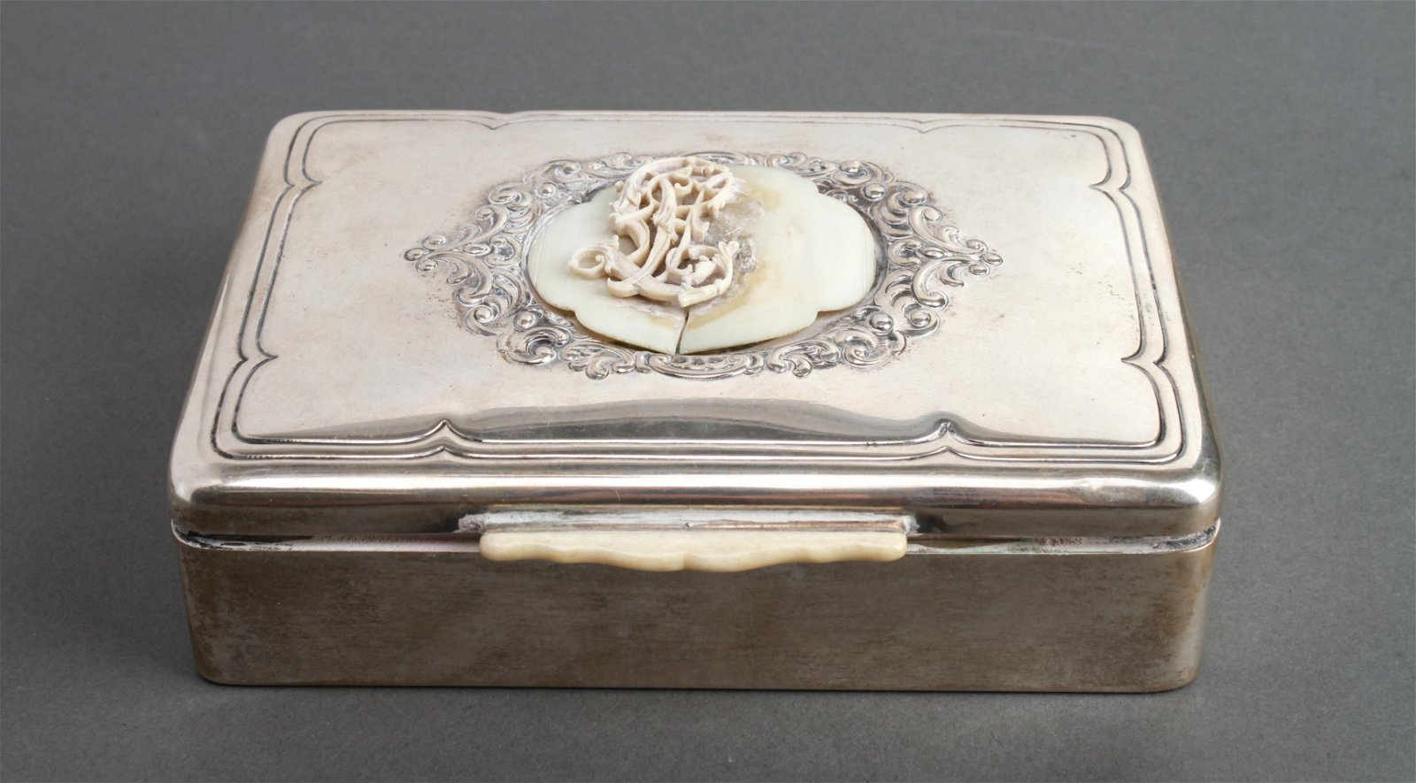 Continental Silver Hinged Box w Cartouche