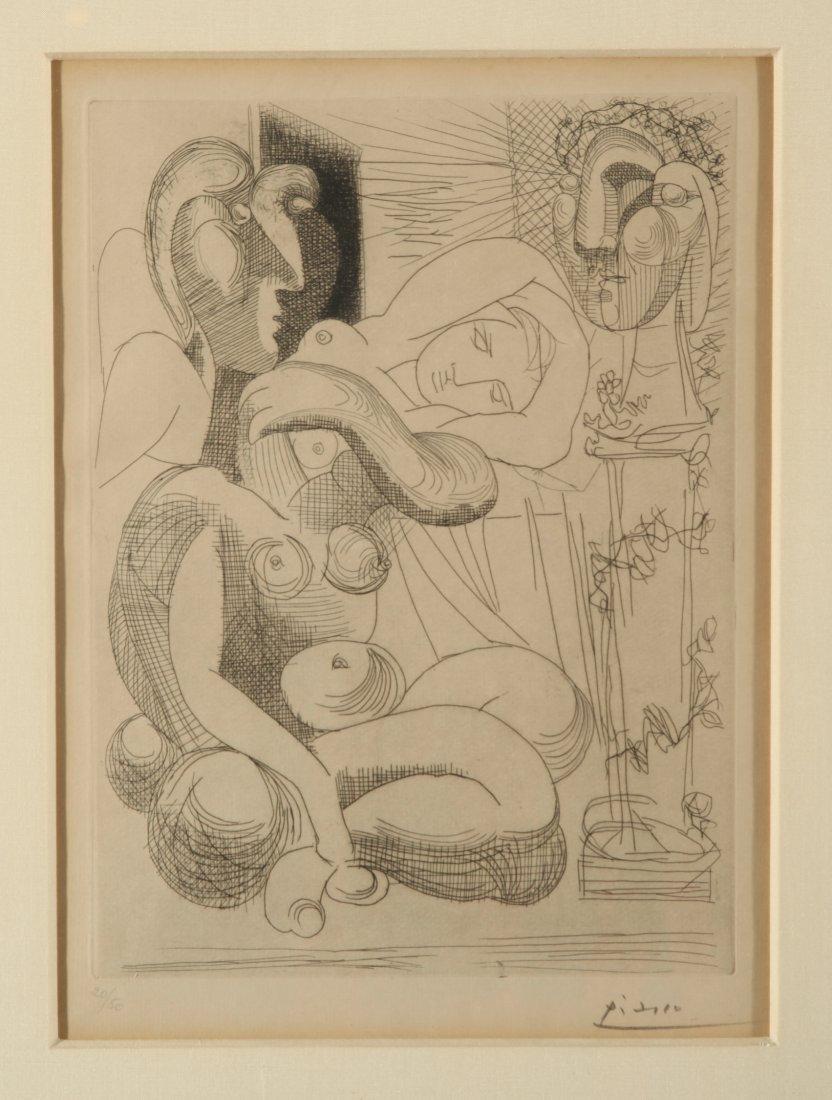 """Pablo Picasso """"Dormeuse Et Sculptures"""" Etching"""