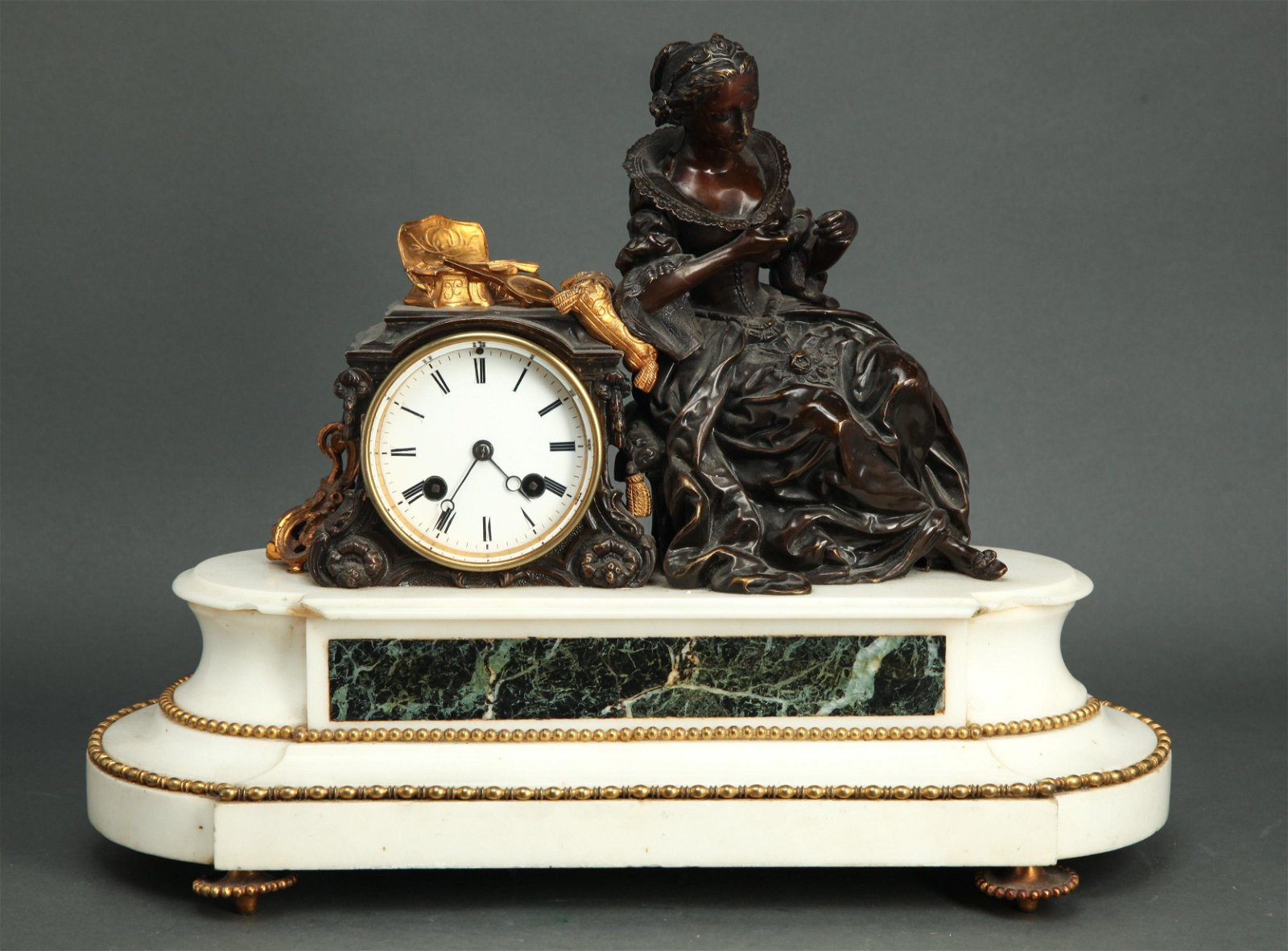 Japy Freres Figural Mantel Clock, 19th C.