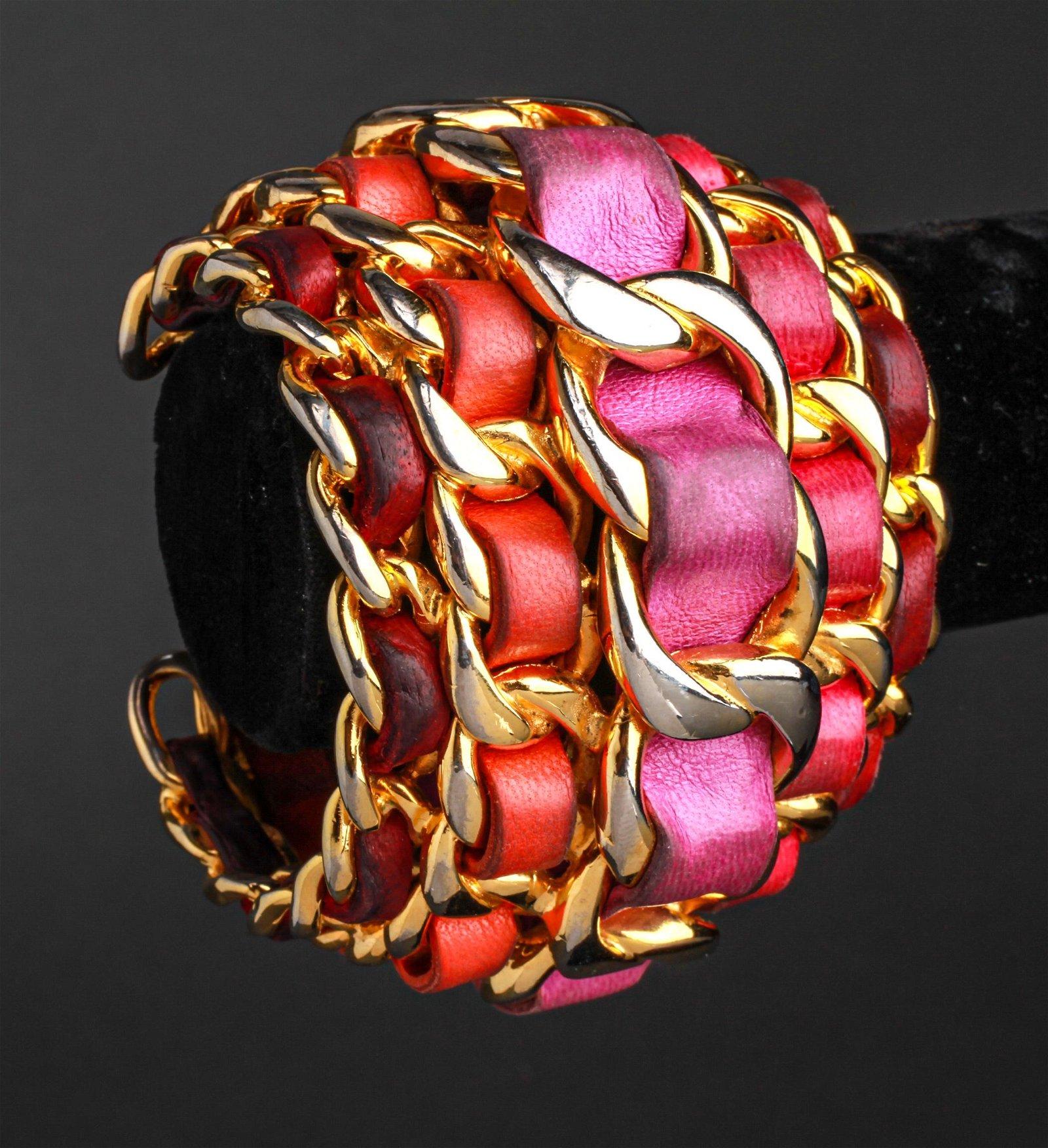 Chanel Runway Lambskin Leather Cuff Bracelet