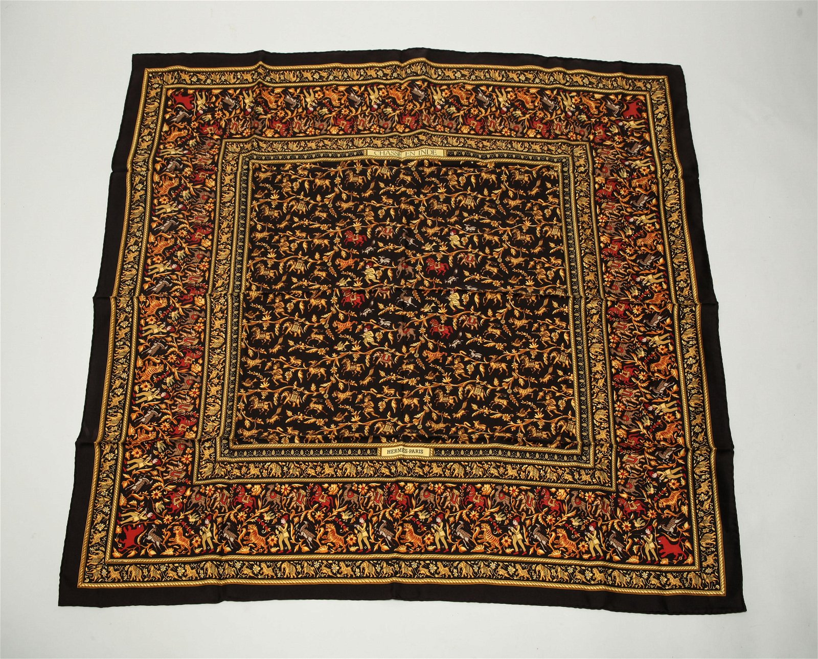 """Hermes French Silk """"Chasse En Inde Scarf"""""""