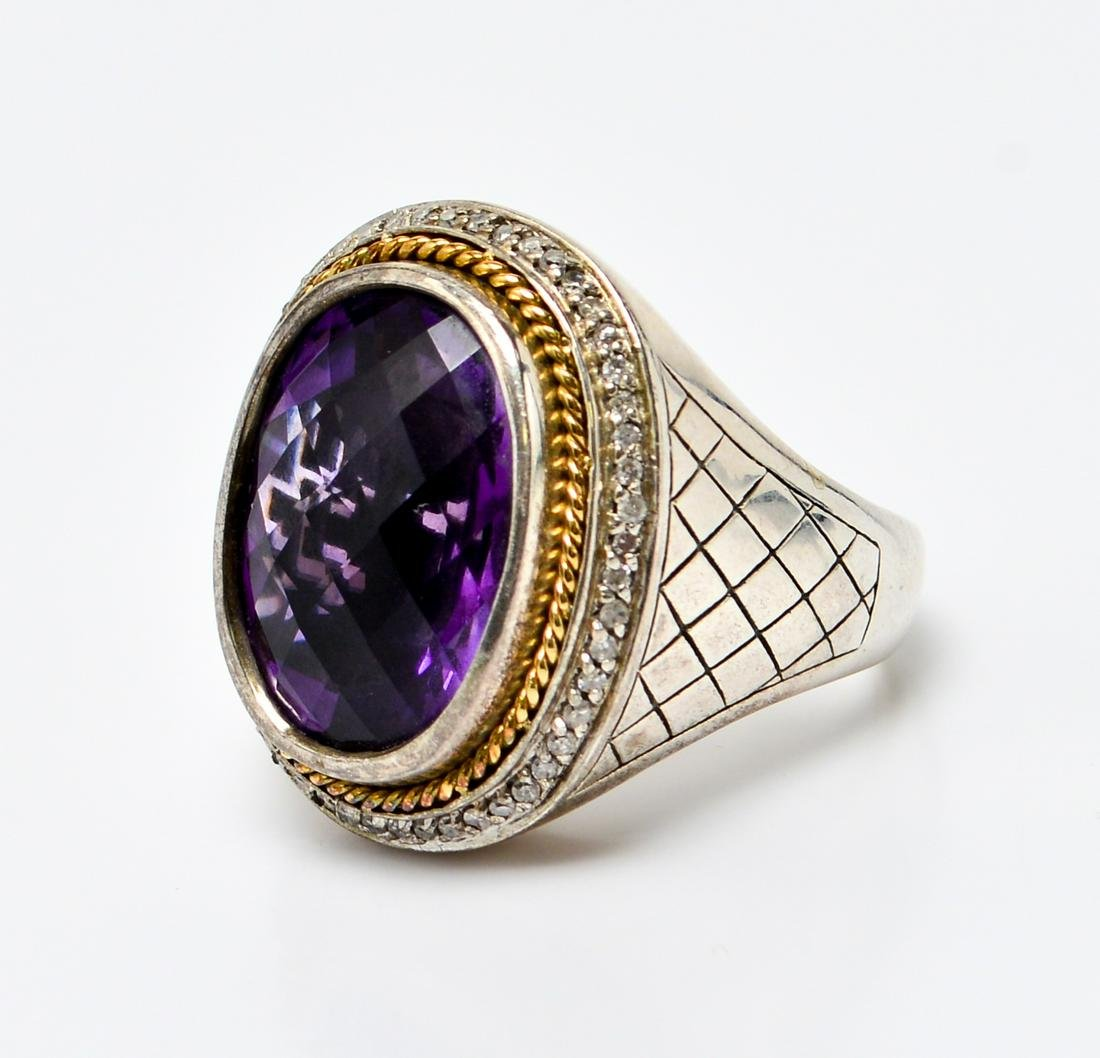 Effy Silver w 18K Gold, Amethyst & Diamonds Ring